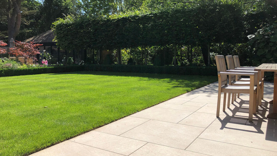 Lawn with patio