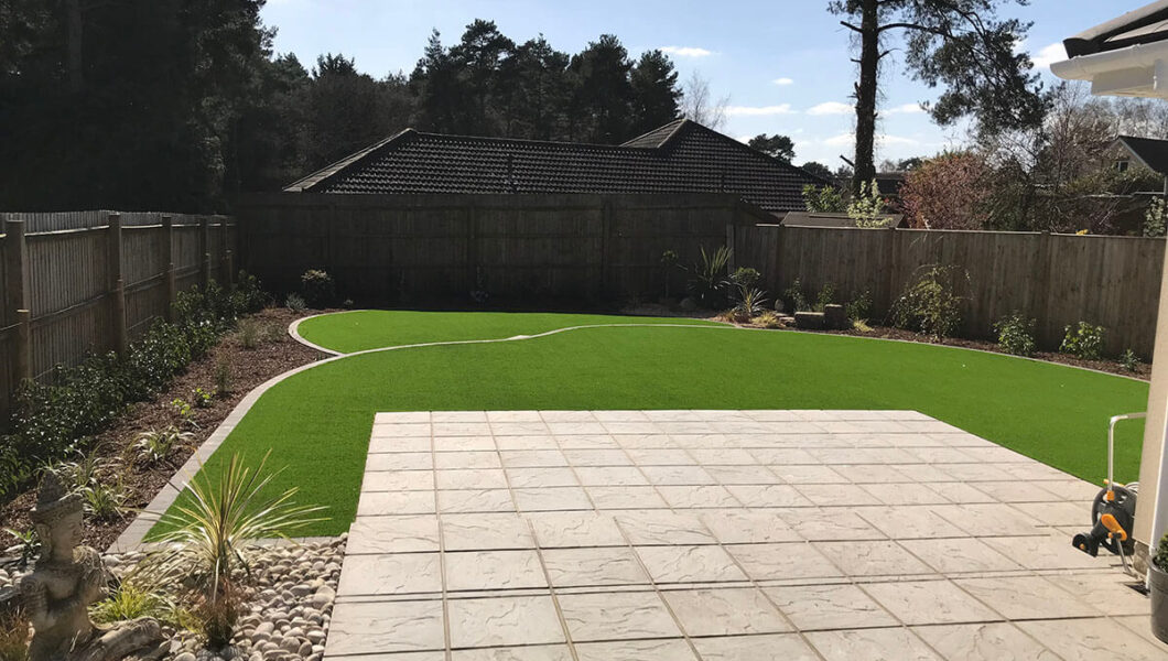 Simple lawn with paved patio